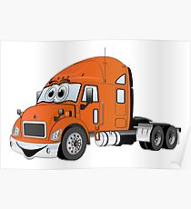 Semi Truck Orange Cartoon Poster