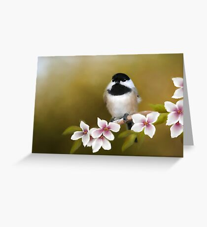 Apple Blossom Chickadee Greeting Card