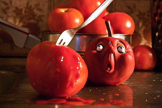 TOMATO FUNNY FOOD CRIME MURDER  by Byzas