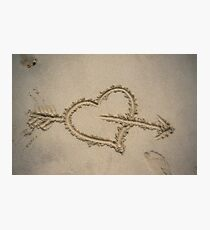 love heart in sand Photographic Print