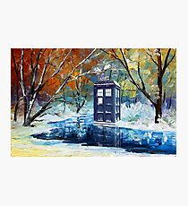 Snowy Blue phone box at winter zone Photographic Print