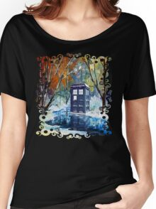 Snowy Blue phone box at winter zone Women's Relaxed Fit T-Shirt