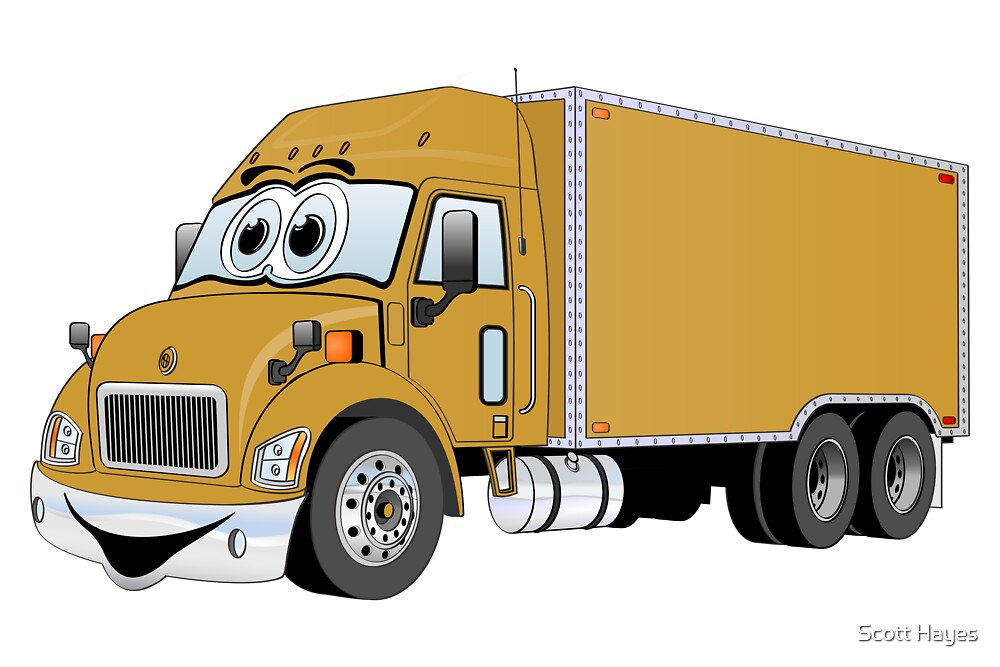 Container Truck Gold Cartoon by Graphxpro