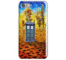 Blue phone booth at fall grass field painting iPhone Case/Skin