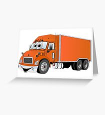 Container Truck Orange Cartoon Greeting Card