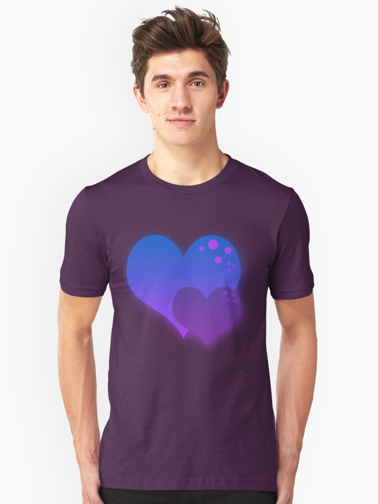 Blue and Purple Hearts Unisex T-Shirt Front