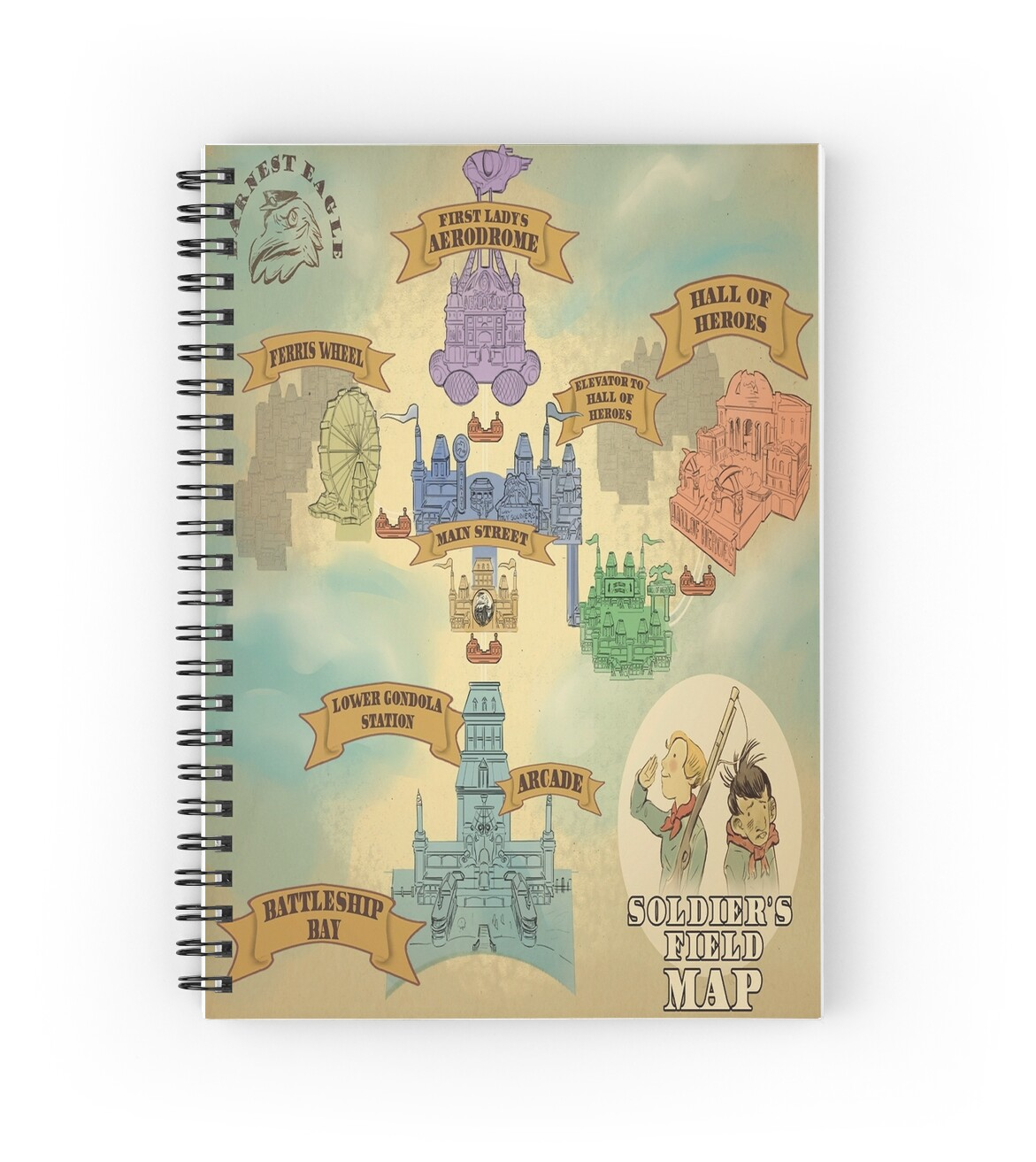 """BioShock Infinite – Soldier's Field Map"" Spiral Notebooks by PonchTheOwl 