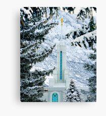 Mount Timpanogos Temple Between the Evergreens 20x24 Canvas Print