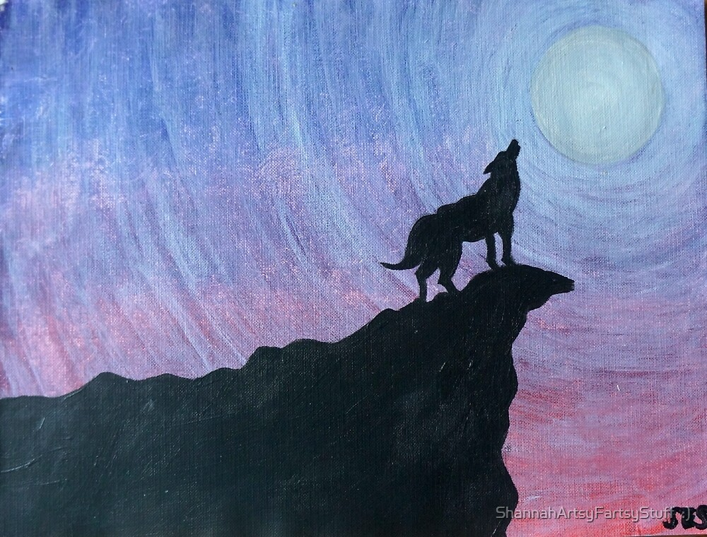 The Wolf Crying at the Lonely Moon by tiger1oo