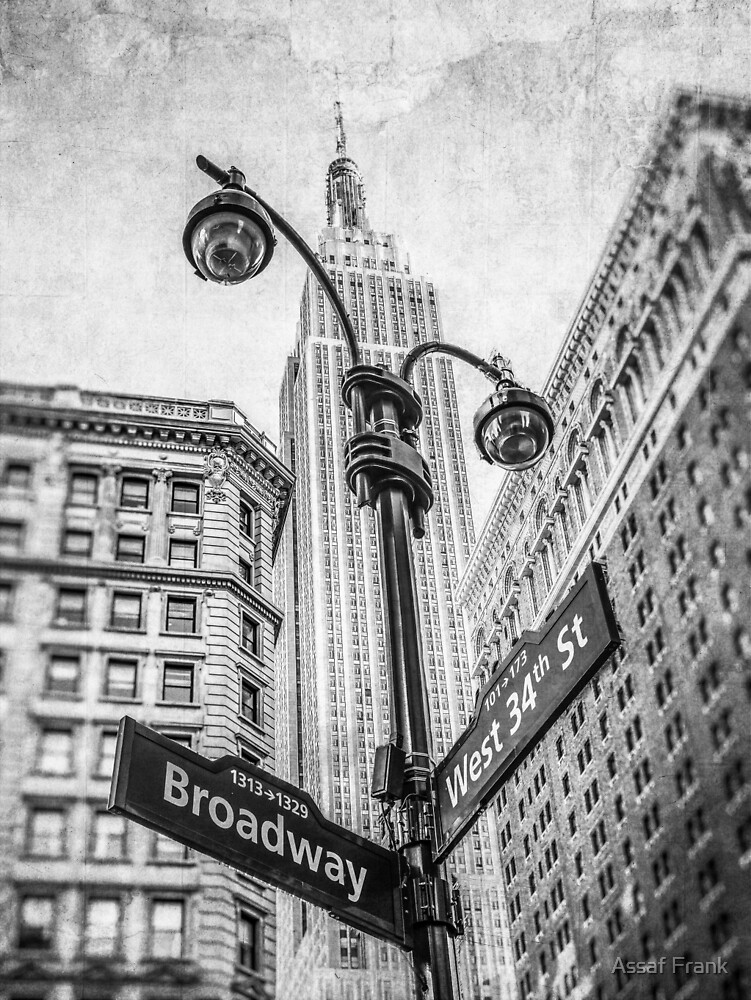 Street lamp with Empire State building by Assaf Frank