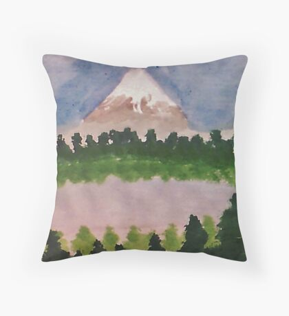 Mount Shasta and lake, watercolor Throw Pillow