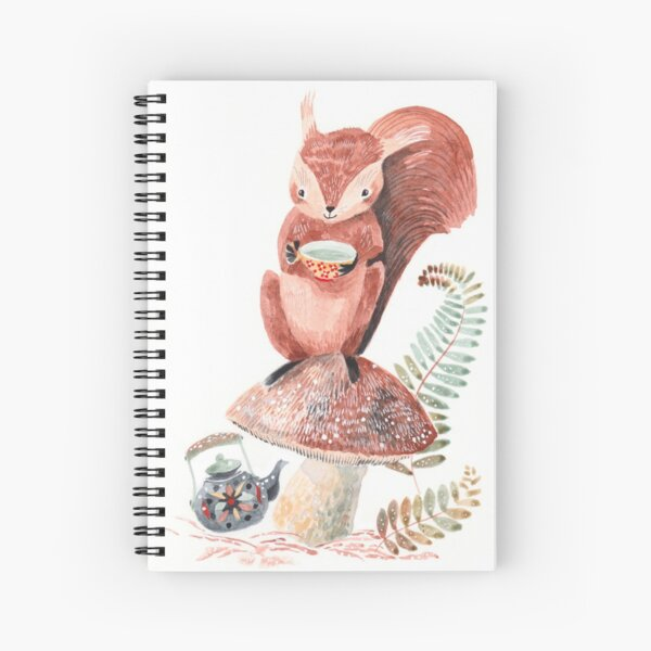 Squirrel tea time Spiral Notebook