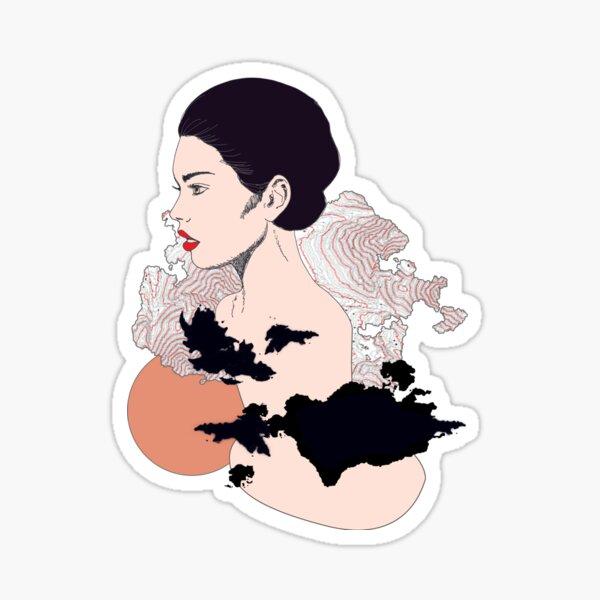 profil de femme graphique et contemporain Sticker