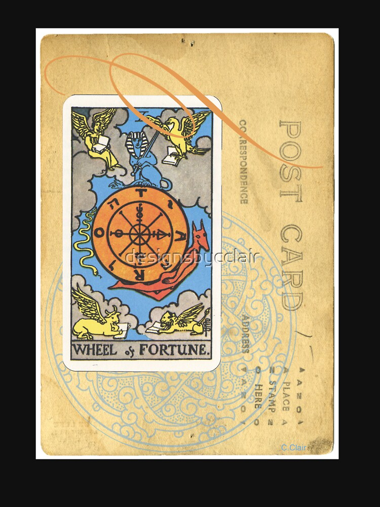 Wheel Of Fortune Blue Tarot Post Card by designsbycclair