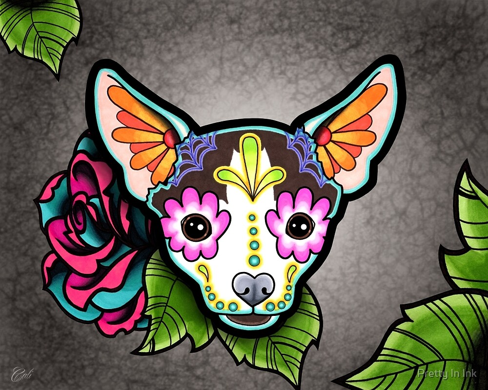 Day of the Dead Chihuahua in Moo Sugar Skull Dog by prettyinink