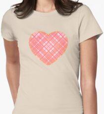Faded Pink Tartan Heart T-Shirt
