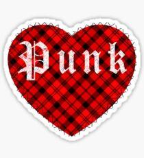 Red Tartan Punk Heart Sticker