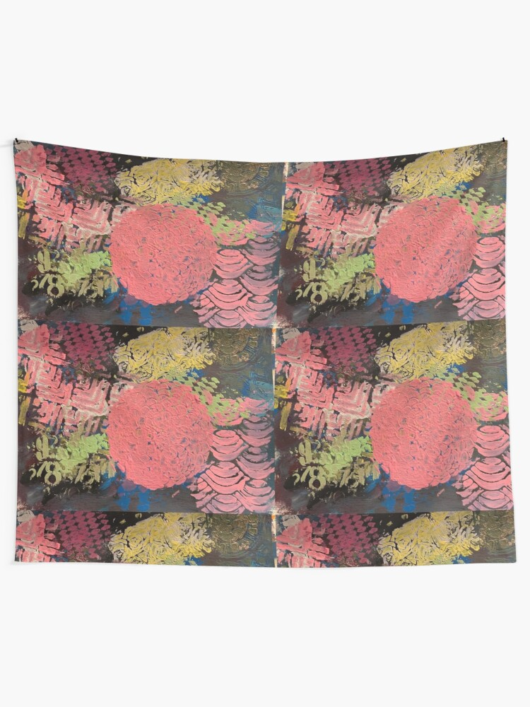 Alternate view of Coral Snowball Tapestry