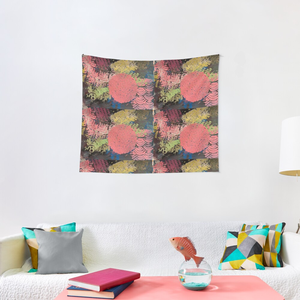 Coral Snowball Tapestry