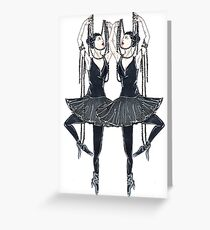 Black ballerina, dancers with pearl necklace, twenties Greeting Card
