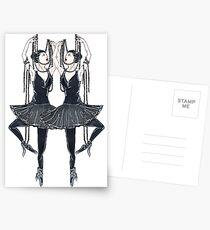 Black ballerina, dancers with pearl necklace, twenties Postcards