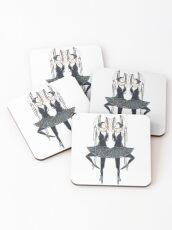 Black ballerina, dancers with pearl necklace, twenties Coasters