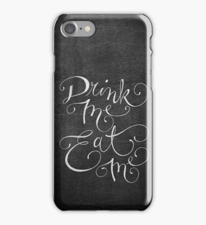 Drink Me, Eat Me Typography on Chalkboard iPhone Case/Skin