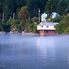 boat house mist rising  by TerrillWelch