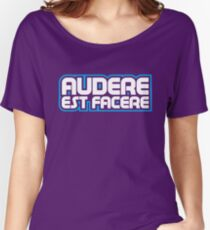 Spurs Latin Motto T-shirt Purple Women's Relaxed Fit T-Shirt