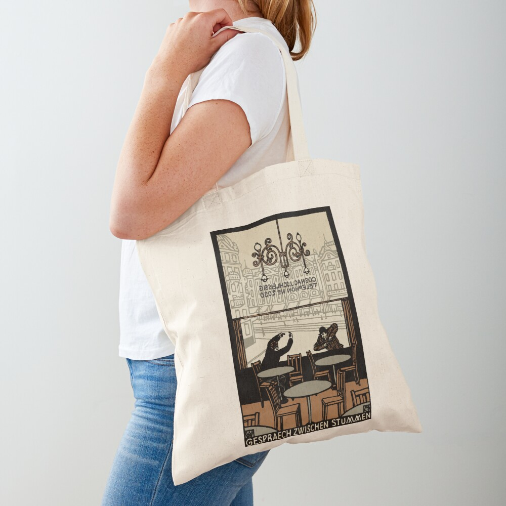 Two gesticulating men, in and in front of a Viennese coffee house, Art Nouveau, Tote Bag