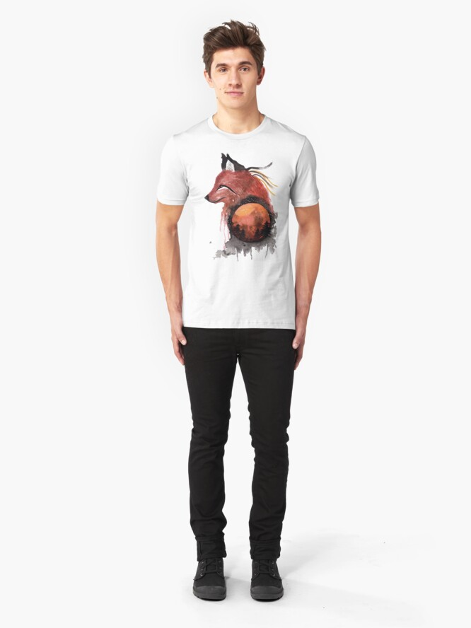 Alternate view of Tetrad the Bloodmoon Fox  Slim Fit T-Shirt