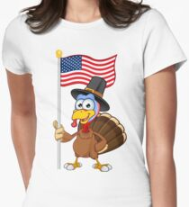 Thanksgiving Turkey Character Womens Fitted T-Shirt