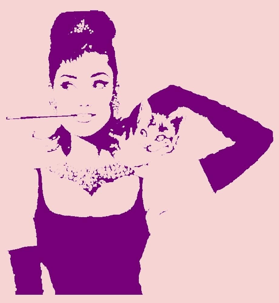 Audrey Hepburn Purple by Vintagestuff