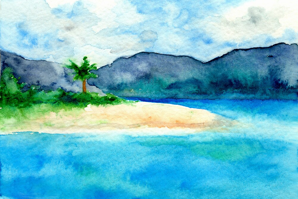 Sandy Cove - Seascape Watercolour by Brazen Design Studio