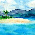 Sandy Cove - Seascape Watercolour by Brazen Design Studio
