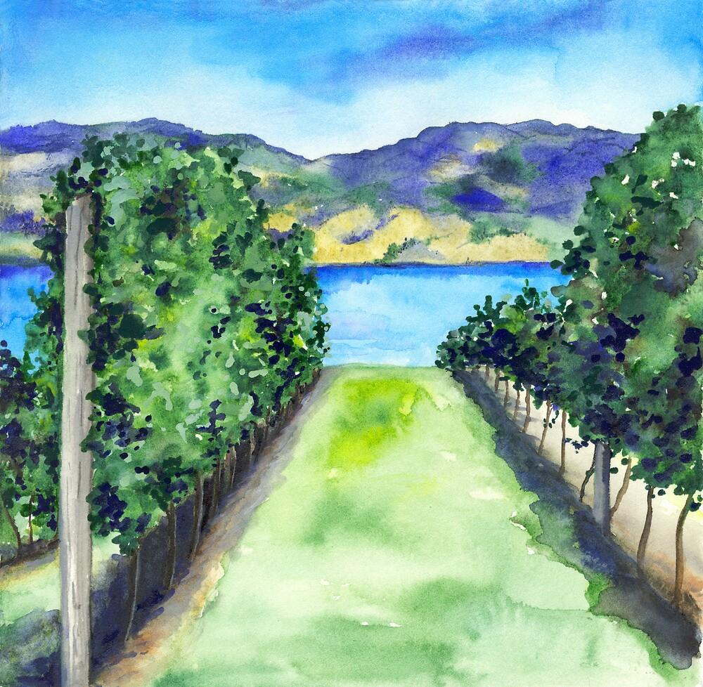 Between the Vines - Landscape Watercolour by Brazen Edwards