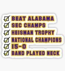 LSU - National Champions - Band Played Neck Sticker