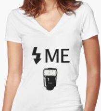 Flash Me Women's Fitted V-Neck T-Shirt