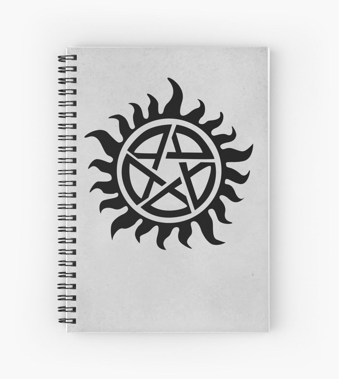 Supernatural Demon Possession Protection Black Spiral Notebooks