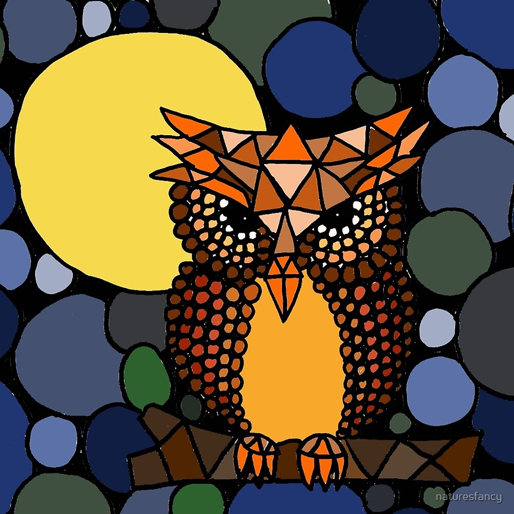 Awesome Owl and Moon Abstract Art Original by naturesfancy