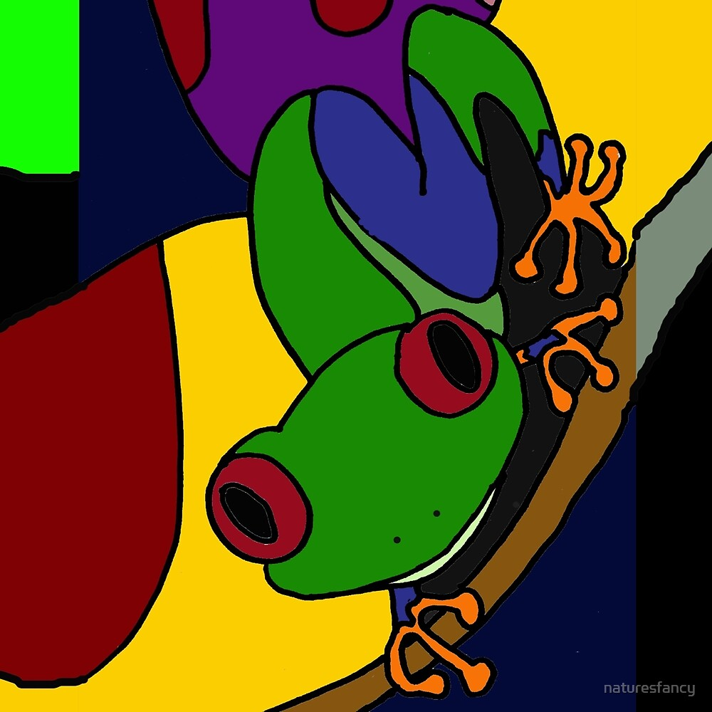 Funky Green and Blue Tree Frog Abstract Art Original by naturesfancy