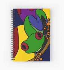 Funky grüne und blaue Baum-Frosch-abstrakte Kunst-Vorlage Spiralblock