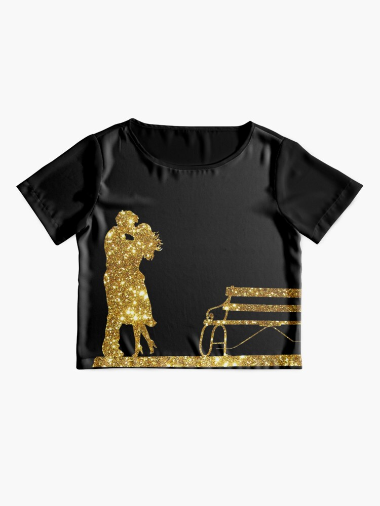 Alternate view of Kissing Valentines in Glitter Gold. Perfect Gift for the One You Love. Chiffon Top
