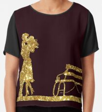 Kissing Valentines in Glitter Gold on Plum. Perfect Gift for the One You Love. Chiffon Top
