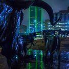 Foggy Pioneer Plaza Cattle Drive at Night by josephhaubert