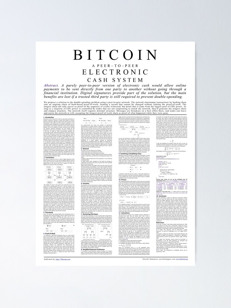 Alternate view of Bitcoin Whitepaper Poster Poster