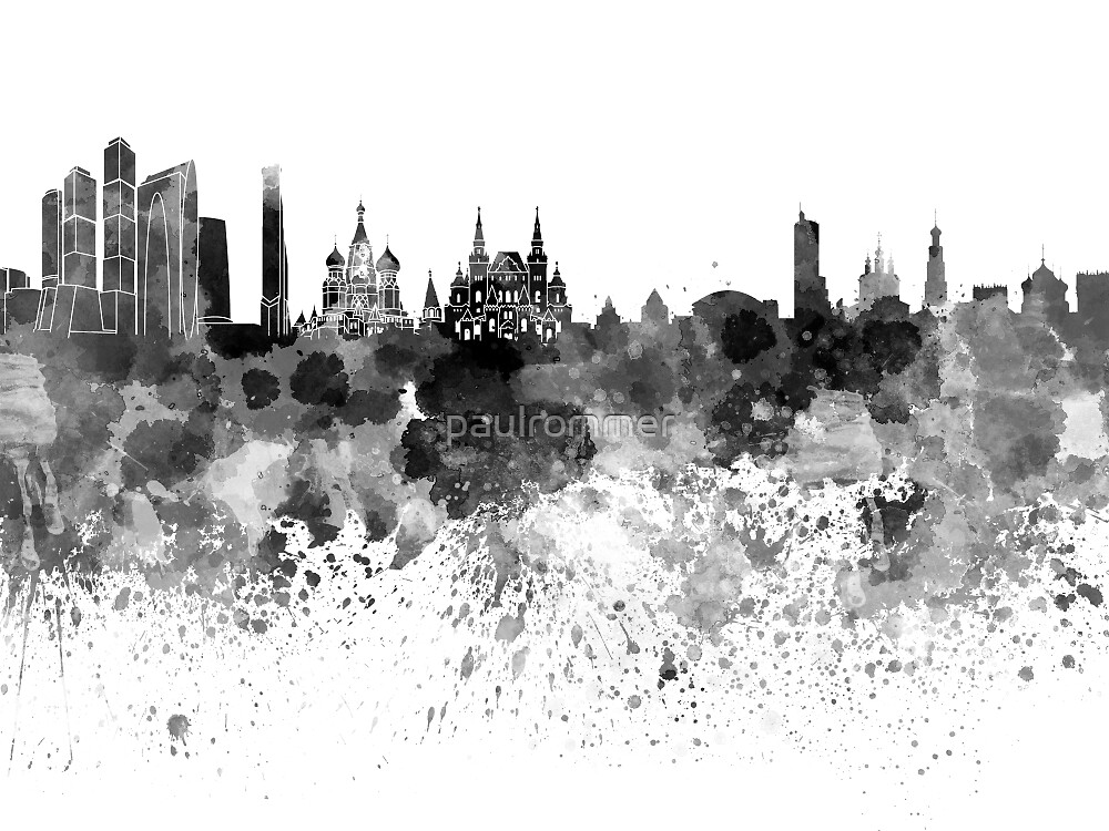 Moscow skyline in black watercolor by paulrommer