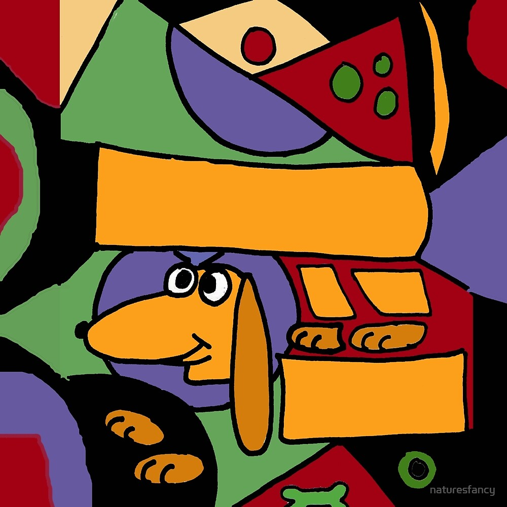 Funky Dachshund Puppy Dog Art Abstract original by naturesfancy