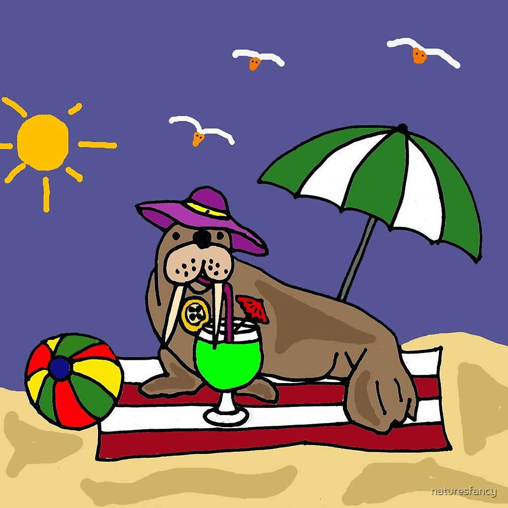 Funny Walrus under Umbrella at the Beach by naturesfancy