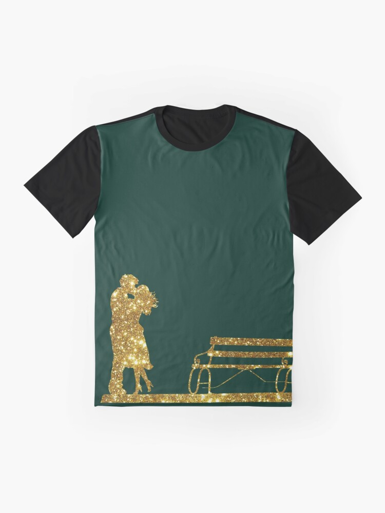 Alternate view of Kissing Valentines in Glitter Gold on Green. Perfect Gift for the One You Love. Graphic T-Shirt